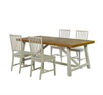 פינת אוכל ביתילי בעיצוב כפרי הכוללת שולחן נפתח מעץ אורן ו4 כסאות עץ בוק