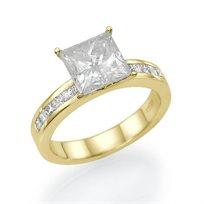 טבעת אירוסין קיסר זהב צהוב 1.51 קראט בשיבוץ יהלומים מרובעים פרינסס