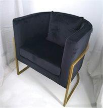 כורסא מעוצבת דגם דניאל מבד קטיפה איכותי צבע שחור רגליים זהב