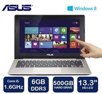 """נייד """"13.3 VIVOBOOK מבית Asus עם מסך מגע דק במיוחד, מעבד i5, זיכרון 6GB, דיסק 500GB ו-WIN8"""