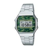 שעון יד דיגיטלי רטרו - כסף/ירוק צבאי