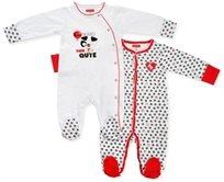זוג אוברולים לתינוק כותנה טריקו Nb - לבן אדום