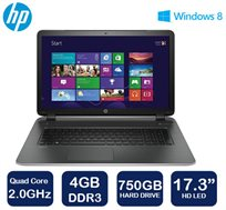 """מבצע ל-72 שעות! נייד HP עם מסך """"17.3, מעבד Quad Core, זיכרון 4GB, דיסק קשיח 750GB ו-WIN8.1"""