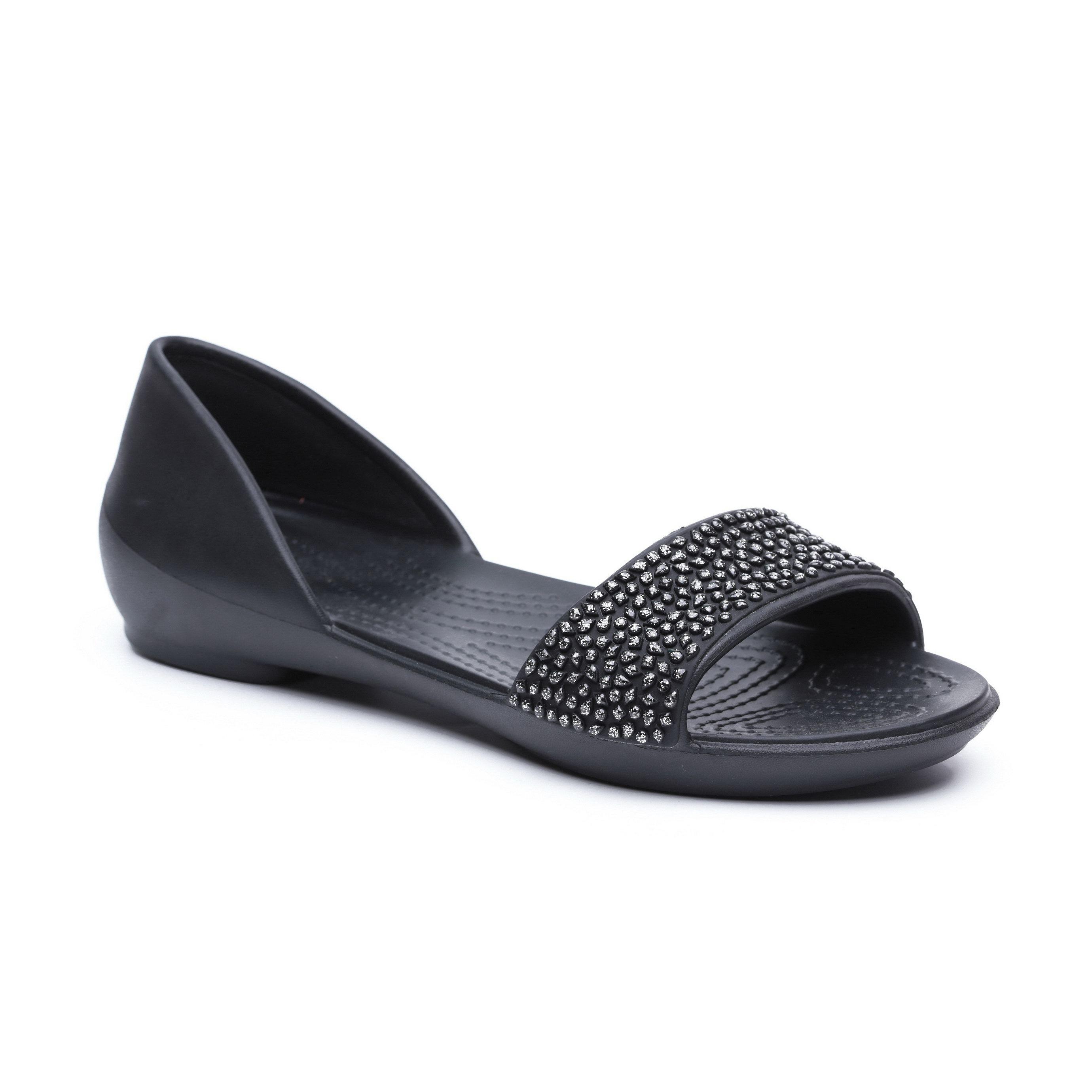 Crocs Lina Embellished Dorsay - סנדלים שחורים לנשים עם רצועה מקושטת