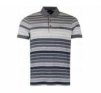 חולצת פולו פסים קצרה Hugo Boss לגברים בצבע אפור
