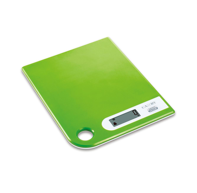 """משקל דיגיטלי בצבע ירוק עם משטח זכוכית לשקילה של עד 5 ק""""ג"""