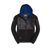 מעיל SUPERDRY Mountain Soft Shell Hybrid לגברים עם כובע קפוצ'ון בצבע שחור