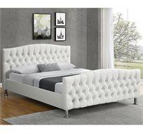 מיטה זוגית מרופדת דמוי עור לבן דגם MERI בגדלים לבחירה