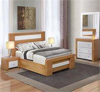 """חדר שינה זוגי LEONARDO עם מיטה זוגית מתאימה למזרן 140X190 ס""""מ + זוג שידות וקומודה עם מראה"""