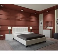 חדר שינה MERLIN מעור אמיתי ואיכותי לבן הכולל מיטה זוגית, 2 שידות וקומודה GAROX
