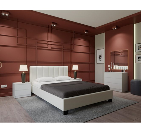חדר שינה MERLIN מעור אמיתי בלבן הנוחה לניקוי GAROX