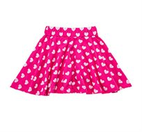 חצאית ג'רזי מסתובבת עם חגורה מגומי רך - לבבות סגול