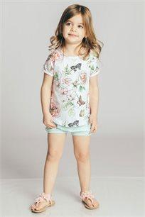 חולצת טריקו קצרה בהדפס פרחים ופרפרים לבנות Kiwi בצבע לבן