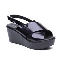 Seventy Nine - סנדל פלטפורמה בצבע כחול כהה עם רצועות עבות