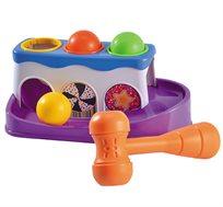 משחק הך פטיש לתינוקות הכולל כדורים צבעוניים ופטיש מפתח מיומנויות מוטוריות, תאום עין-יד ופתרון בעיות