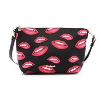 Desigual Bols Lips Catania - תיק צד מלבני שחור לנשים בהדפס שפתיים