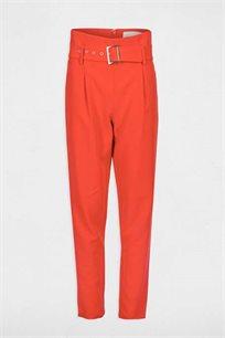 מכנסי בד גזרה גבוהה MORGAN עם חגורה - צבע לבחירה