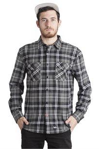 חולצת פלאנל משובצת SUPPLY בצבעי אפור ושחור