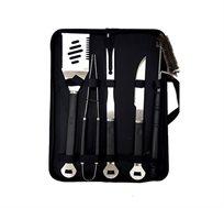 סט 5 כלים לברבקיו מגיע בתיק בד וכולל תרווד ,מלקחיים ,מזלג ,סכין ומברשת לניקוי הגריל  Australia Chef