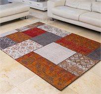 שטיח לסלון בעבודת יד ג'אקרד פאטצ' בצבע אפור אדום גדלים לבחירה