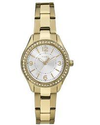 שעון יד מוזהב אופנתי לאישה משובץ אבני סברובסקי מבית TIMEX העולמית