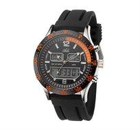 שעון אנאלוגי דיגיטלי לגבר מבית ADI - תצוגת שני זמנים, תאורה.
