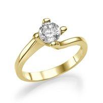"""טבעת אירוסין זהב צהוב """"אוולין"""" 0.41 קראט בשיבוץ העוטף את היהלום"""