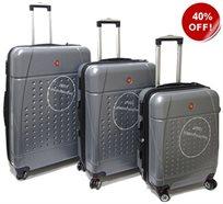 Swiss Travel סט 3 מזוודות קשיחות כסף!