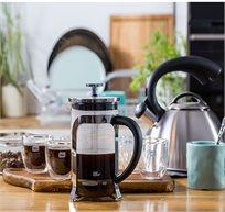 """ערכת קפה הכוללת פרנץ' פרס 600 מ""""ל + 6 כוסות דאבל 80 מ""""ל פוד אפיל"""