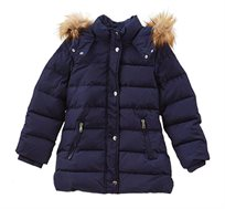 מעיל DOWN JACKET OVS עם כובע דמוי פרווה - כחול