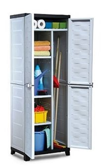 ארון שירות פרמיום עם מחיצה ומדפים עשוי פלסטיק מבודד לגינה, בית או מרפסת