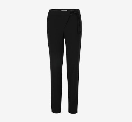 מכנס עם חגורה מקטיפה לנשים MORGAN - שחור