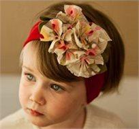 אופנה ראשונה! סרט ראש אדום עם פרחים צבעוניים, 100% כותנה עדינה ונעימה לתינוקות