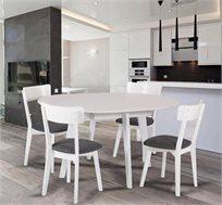 שולחן אוכל עגול נפתח מעץ מלא ו-4 כסאות מרופדים דגם VANS