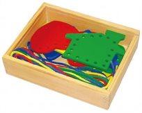 השחלת שרוכים - 8 צורות עץ ושרוכים בקופסת עץ מהודרת