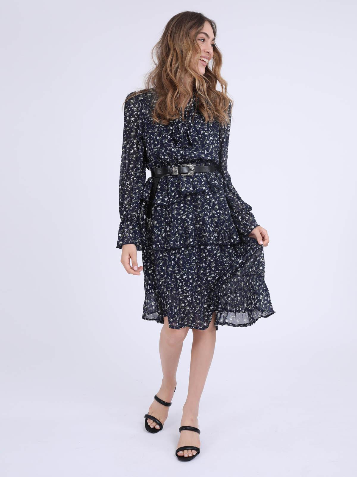 שמלה בהדפס פרחוני ניקי כחול סטייל ריבר