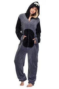 פיג'מת וונזי PILPEL לנשים דגם פינגווין בצבעי אפור ושחור