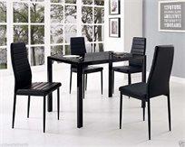 פינת אוכל מעוצבת מזכוכית עם 4 כסאות דמוי עור בצבע שחור