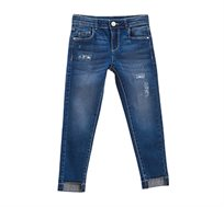 מכנסי ג'ינס סטרצ'י במראה משופשף לילדות בצבע כחול