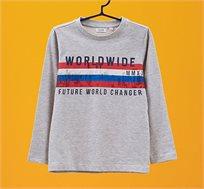 חולצת שרוולים ארוכים OVS לילדים - אפור עם פסים וכיתוב