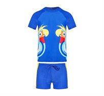 סט בגד ים PILPEL המורכב מחולצה קצרה ומכנסון - כחול עם הדפס תוכים