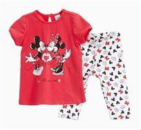 חליפה OVS לתינוקות וילדות - אדום ולבן עם הדפס מיני ומיקי מאוס