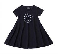 שמלה מסתובבת לב וקרני אור בצבע שחור