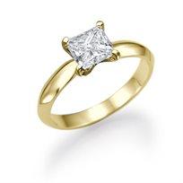 """טבעת יהלומים """"פרינסס זהב צהוב"""" 0.51 קראט"""