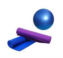 """מזרן יוגה איכותי בעובי 6 מ""""מ + כדור פילאטיס בקוטר 65 ס""""מ"""