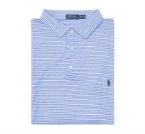חולצת פולו שרוול קצר לגבר POLO RALPH LAUREN CLASSIC FIT מידות גדולות פסים כחול לבן שחור ולוגו כחול
