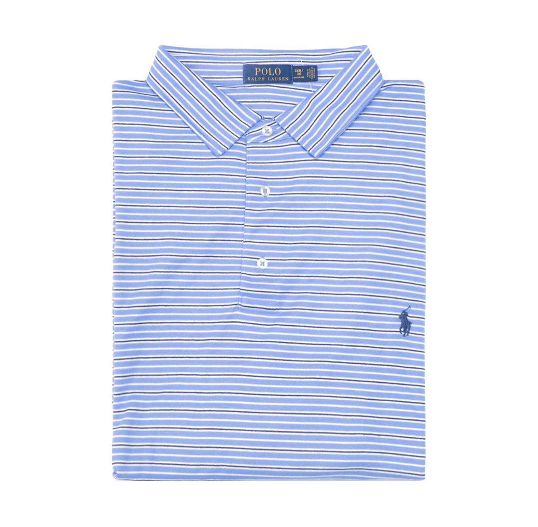 חולצת פולו POLO RALPH LAUREN CLASSIC FIT מידות גדולות - פסים כחול לבן שחור ולוגו כחול