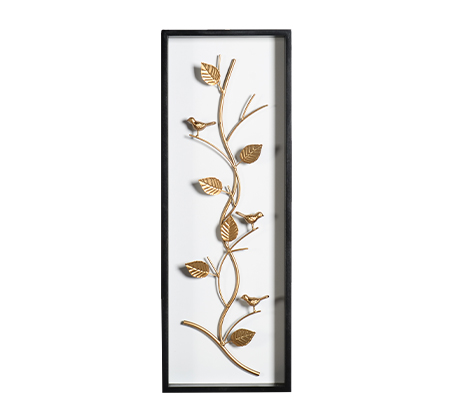 קישוט קיר מתכתי עם מסגרת בצורת ענף מוזהב עם ציפורים