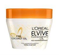 """מסכה בניחוח קוקוס לטיפוח השיער ELVIVE Extraordinary Oil לשיער רגיל עד יבש 300 מ""""ל LOREAL"""