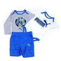 PUMA  פומה (24-0 חודשים) חליפת סט שני בגדי גוף ומכנס - לבן אפור כחול